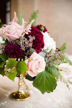 Burgundy dahlia, pink rose, seeded eucalyptus, wedding flowers, floral centerpiece // Amanda Megan Miller Photography