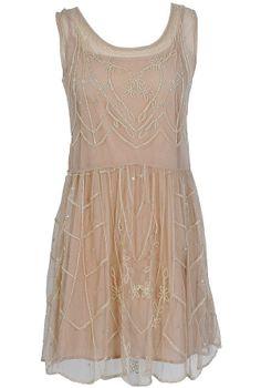 Daisy Buchanan Beige Embellished Dress  www.lilyboutique.com