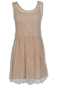 Daisy Buchanan Beige Embellished Dress
