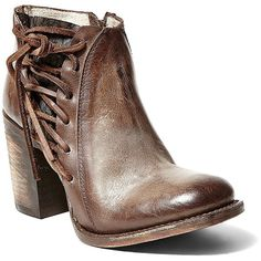 Freebird By Steven Brook Leather Lace-Up Boots ($275) ❤ liked on Polyvore featuring shoes, boots, ankle booties, brown, brown ankle booties, lace up ankle booties, laced booties, brown booties and steven by steve madden boots