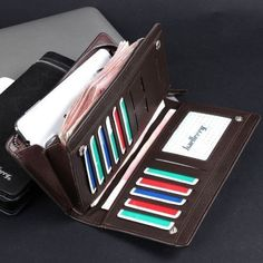 Men's Leather ID Card Holder Zip Wallet Purse Clutch Checkbook Billfold 2016 NEW