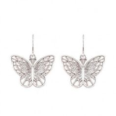 Sterling Silver Butterfly Earrings, Made in the USA Butterfly Gifts, Butterfly Earrings, Beautiful Butterflies, Designer Earrings, Filigree, Mother Day Gifts, Sterling Silver, Tattoos, Pattern