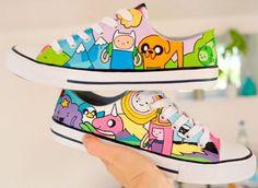 #AdventureTime Shoes Custom Jack and Finn on High Top Anime Shoe