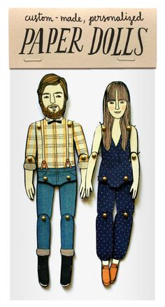 gifts illustration Send illustrator Jordan Grace Owens a picture and shell transform you into a personalized paper doll. Paper Puppets, Paper Toys, Fun Family Portraits, Family Posing, Paper Art, Paper Crafts, First Anniversary Gifts, Wedding Anniversary, Anniversary Ideas