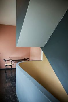 We love the look of this stairwell, painted a contrasting color on the interior.