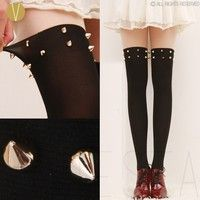 DESCRIPTION:   The mock over the knee tights with two rows of studs on each leg, as worn by many cele
