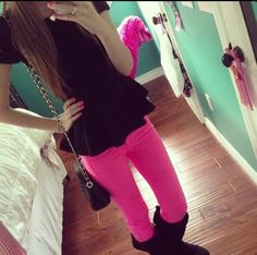 Love <3<3<3                                                     I like the black lace top with bright skinny jeans and uggs!!! Super cute combo!!!