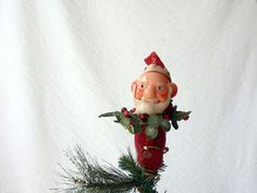 Santa ClausTree Topper Jolly Old Elf Xmas Tree by ProfessorTiny Xmas Tree Toppers, Christmas Tree Star, Elf, Santa, Holiday Decor, Handmade Gifts, Kid Craft Gifts, Handcrafted Gifts, Elves