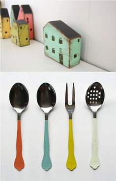 love these little wooden block houses. and these dipped utensils are so sweet! they really bring life to old items.