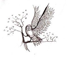 Tumblr Owl On Branch Tattoo Design