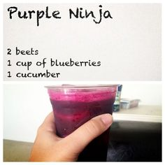 Purple Ninja Juice Recipe (with blueberry). 2 beets 1 cup blueberries 1 cucumber I hate beetroot but must admit that fresh raw beetroot actually doesn't taste that bad compared to the ones you that have vinegar added to them! Juice the beets with the skin Ninja Juice Recipes, Healthy Juice Recipes, Juicer Recipes, Healthy Juices, Healthy Smoothies, Healthy Drinks, Detox Juices, Cleanse Recipes, Fresh Juice Recipes