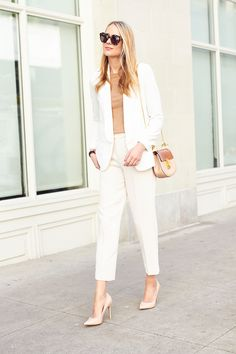 fashion-jackson-nude-pumps-chloe-drew-handbag-white-blazer-club-monaco-marikate-pants-karen-walker-sunglasses-camel-sweater