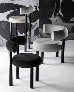 It's FAT, it's round, it's cuddly. FAT, coming April 2019, available as a dining chair, bar stool and lounge chair. Bar Counter, Counter Stools, Bar Stools, Chair Design, Furniture Design, Dinning Chairs, Dining, Lounge Chairs, Tom Dixon