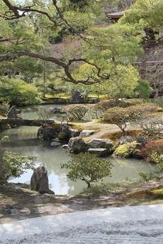 Garden at the Ginkaku-ji Temple in Kyoto Japanese Garden Style, Asian Garden, Japanese Gardens, Kyoto, Zen Rock Garden, Water Garden, Landscape Design, Garden Design, Parks