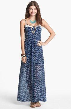Mimi Chica Lace Inset Maxi Dress (Juniors) | Nordstrom
