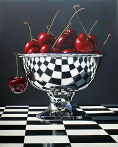artnet Galleries: Beautiful Bings by Daryl Gortner from Skidmore Contemporary Art art cherry metal bowl reflection Eugenie Of York, Realistic Paintings, Funny Paintings, Still Life Art, Color Pencil Art, Photorealism, Oeuvre D'art, Painting & Drawing, Amazing Art