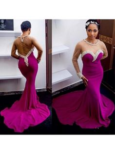 329a85ecc69 Sexy Mermaid Beaded Long Purple Prom Formal Evening Party Dresses 99602968 Long  Evening Gowns