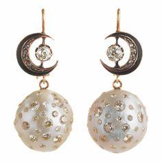Renee Lewis Pearl & Diamond Drop Earrings