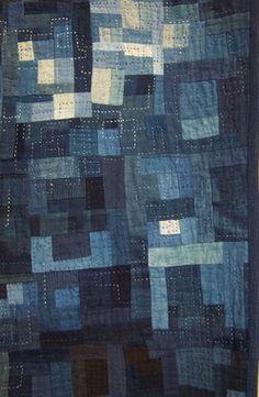 Upcycled-denim quilt inspiration from the 2006 Tokyo Quilt Festival. Quilt Festival, Indigo, Shibori, Boro Stitching, Japanese Textiles, Fabric Art, Textile Art, Quilt Blocks, Quilt Patterns