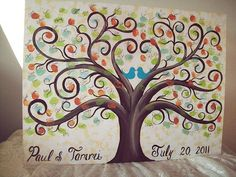 Wedding guest book: fingerprint tree  Fall colors for leaves  Wetnaps and mini garbage bin next to canvas to clean hands  Names and date on bottom  have wedding party do it before the wedding to show guests what to do.