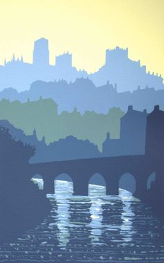 Screen print of Elvet Bridge, Durham by Ian Scott Massie. £130  To order a copy click here: enquiry@mashamgallery.co.uk
