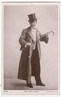 OLD RP PC Vesta Tilley IN Mens Dress TOP HAT Cane Rotary 1906