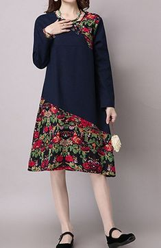 Women loose fit over plus size retro ethnic flower dress chic tunic pregnant #Unbranded #dress #Casual