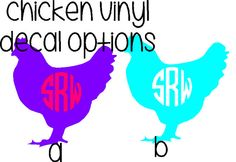 Hey, I found this really awesome Etsy listing at https://www.etsy.com/listing/221567683/chicken-vinyl-decal-with-monogram