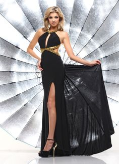 Jewel Floor Length Black Elastic Satin Sheath Column Prom Dress