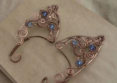 Want these awesome Elf ear cuffs! Wire wrapped ear cuffs Elven by StasyaWireWr… – ear cuff - GoHairstyles Ear Jewelry, Copper Jewelry, Jewelry Art, Jewelry Making, Wire Ear Cuffs, Elf Ear Cuff, Natural Accessories, Elf Ears, Micro Macramé