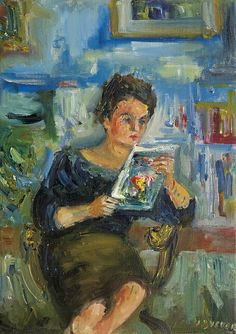 Reading. Jakub (Jacques) Zucker (Polish-American, 1900-1981). Oil on canvas. Zucker's works are expressionistic variations in the type of the Ecole de Paris, which originates from the art of artists such as Marc Chagall, Chaim Soutine, and others.
