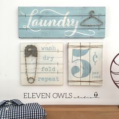 LAUNDRY SIGN SET, Laundry Room Decor, Laundry Room Decor Signs, Rustic Laundry Room decor, Laundry Sign, Wood Laundry Sign, Fixer Upper by ElevenOwlsStudio on Etsy https://www.etsy.com/listing/470352117/laundry-sign-set-laundry-room-decor