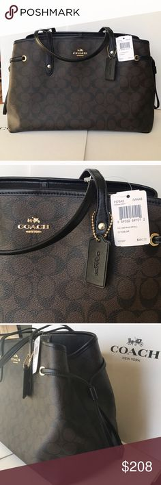 🎀🍒coach carryalldrawstring🍒tote Authentic brand new with tag black brown color gold hard wear. One size large tote. Coach Bags Totes