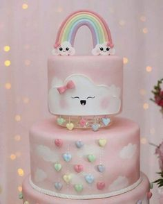 Baby Cakes, Baby Shower Cakes, Baby Birthday Cakes, Rainbow Birthday Party, Girl Cakes, Cloud Party, Cloud Cake, Party Decoration, Cute Desserts