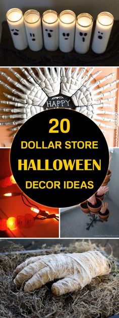 Easy DIY Halloween decor ideas using cheap supplies from the dollar store.