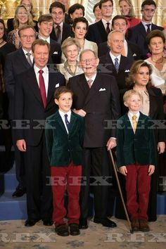 Grand Duke Jean of Luxembourg 95th birthday, Luxembourg - 09 Jan 2016  Grand Duke Henri of Luxembourg, Grand Duke Jean of Luxembourg, Prince, Noah, Prince Gabriel, Grand Duchess Maria Teresa of Luxembourg, Archduchess Marie Astrid & Christian Archduke of Austria, Prince Louis of Luxembourg, Princess Tessy of Luxembourg and Prince Sebastian, pose for the photographers during festivities for the 95th birthday of Grand Duke of Luxembourg at the Grand Ducal Palace in Luxembourg 9 Jan 2016