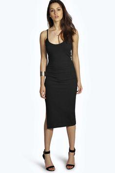 Lexi Ribbed Strappy Side Split Bodycon Dress alternative image