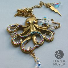 Glamourpus Octopus Necklace #danameyerdesigns #brass #bling