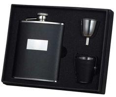 Visol Ontario Black Leather 6oz Deluxe Flask Gift Set