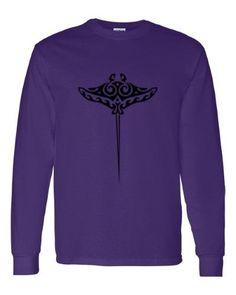 Tribal Stingray Ocean Animals Mens Long Sleeve T-Shirt Purple 3XL, Men's, Size: XXXL