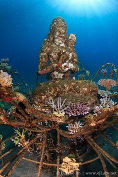 Coral goddess in the temple garden atop a biomass structure in Pemuteran, Bali, Indonesia #endangeredspecies