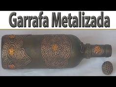 Garrafa decorada com toalha plástica metalizada. - YouTube