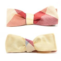 QP Collections - Yellow Check Reversible Bow Tie