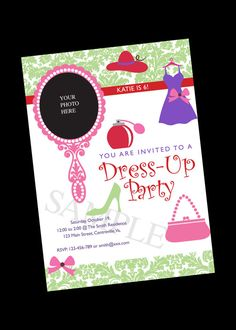 Costume party childrens birthday party invitations by jill means at dress up birthday party invite digital file 5 x 7 inches stopboris Images