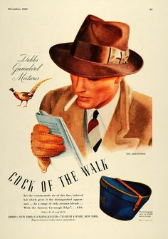 1937 Ad Dobbs Cavanagh Edge Hat Cock of Walk Broadmoor