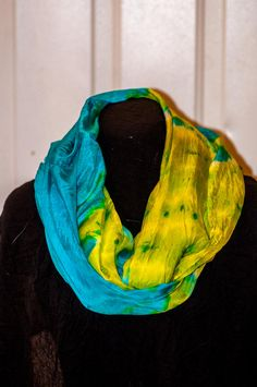 Silk Shibori Infinity Scarf - Hand Dyed Silk Scarf - Infinity Scarf - Blue and Yellow - Silk Habotai - Gift for Her by WhatJennyMakes on Etsy Dyed Silk, Some Body, Green Gifts, Shibori, Yellow, Blue, Infinity, Gifts For Her, Pure Products