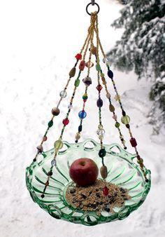 Large Beaded Green Bowl Candle Holder Bird Feeder Large Beaded Green Bowl Candle Holder Bird by leeannsvintagedecor – garden-art