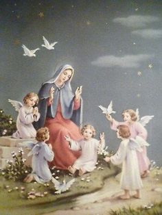 Mary, Child Jesus and Angels Blessed Mother Mary, Divine Mother, Blessed Virgin Mary, Mother Mary Images, Images Of Mary, Catholic Pictures, Pictures Of Jesus Christ, Catholic Art, Religious Art
