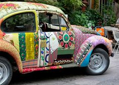 Patchwork Car! Love it! Something fun.  #patchwork #patch work #decoupage #car