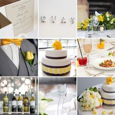 Neat wedding with yellow, grey and white colours.